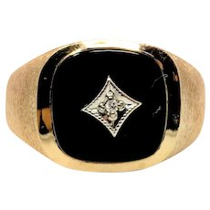 14k Yellow Gold Onyx and Diamond Men's Ring Size 10