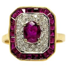 18k Yellow Gold Le Vian Ruby and Diamond Women's Ring Size 8