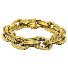 18k Yellow Gold Italian Double Oval Rolo Link 69g Fine Bracelet 8 Inches