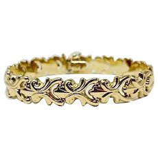 14k Yellow Gold Milor Brand Fleur de Lis Link Chain Bracelet Italy 7.25 Inches