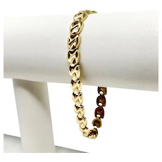 14k Fine Yellow Gold Aurafin Fancy Link Chain Bracelet Italy 7.25 Inches