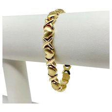 14k Yellow Gold Hugs and Kisses XO Link Bracelet Italy 6.75 Inches
