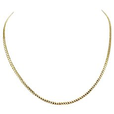 14k Yellow Gold Thin 3mm Curb Link Chain Necklace 18 Inches