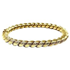 14k Solid Yellow Gold 27.9g Twisted Bangle Bracelet Italy 6.5 Inches