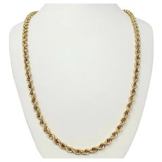 14k Yellow Gold 34.2g Hollow 5.5mm Rope Chain Necklace 31 Inches