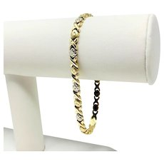 """14k Yellow and White Gold Hugs and Kisses XO Link Bracelet 7.75"""""""