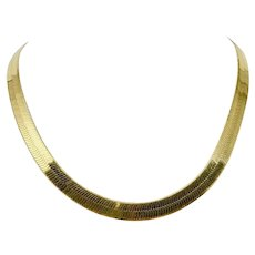 14k Yellow Gold 27g Herringbone Chain Link 8mm Wide Necklace Italy 18 Inches