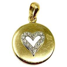 18k Yellow Gold and .28ct Diamond Open Heart Charm Pendant