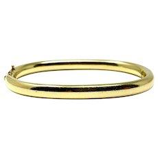 18k Yellow Gold 28.2g Polished Oval Hinged Bangle Bracelet 6.5 Inches