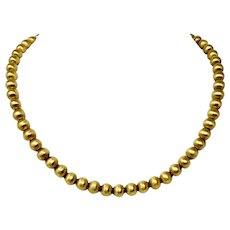 18k Yellow Gold 30g Satin Finished 7mm Ball Bead Necklace Italy 16.5 Inches