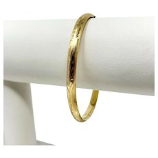 "14k Yellow Gold Vintage Satin Finish Floral Etched Hinged Bangle Bracelet 6.5"""