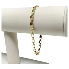 14k Yellow Gold Fancy Modified Open Rope Chain Link Bracelet 7.5 Inches