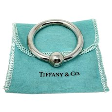 Tiffany & Co. Sterling Silver 925 Baby Rattle Teething Ring with Pouch Monogram