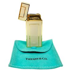 Tiffany & Co. Gold Tone and Cream Enamel Lighter with Pouch