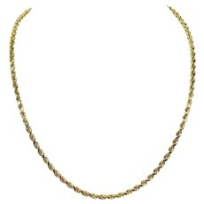 14k Yellow Gold 23.9g Solid Diamond Cut 3.5mm Rope Chain Necklace 20 Inches
