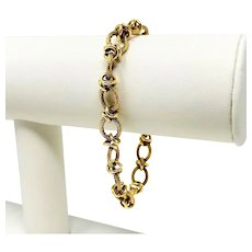 14k Yellow Gold Vintage Fancy Textured Cable Link Chain Bracelet 7.5 Inches