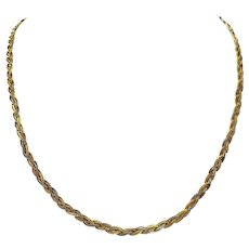 """14k Yellow White Rose Gold Tri Tone Braided Weave Chain Necklace Italy 18.5"""""""