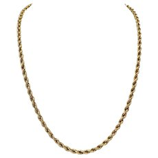 14k Yellow Gold Hollow 4mm Rope Chain 17.1g Necklace Italy 22.5 Inches