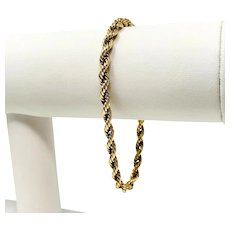 14k Yellow Gold 4.5mm Hollow Rope Chain Bracelet 7.5 Inches