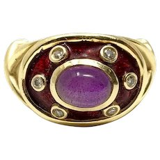 14k Yellow Gold Vinate Cabochon Amethyst Diamond Enamel Ring Size 6