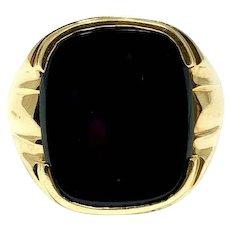 14k Yellow Gold Large Heavy Men's Onyx Ring Size 9