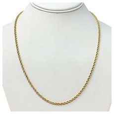 14k Yellow Gold 10.2g Solid Diamond Cut 2.5mm Rope Chain Necklace 20 Inches