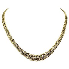 """18k Yellow White Gold Two Tone Graduated Fancy Link Chain Necklace Italy 18"""""""