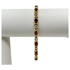 14k Yellow Gold Panther Link Red Garnet Chain Bracelet 7.5 Inches