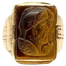 10k Yellow Gold Vintage Carved Tiger's Eye Roman Soldier Ring Size 7.5