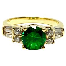 14k Yellow Gold Emerald and Cubic Zirconia Diamonique Ring Size 7