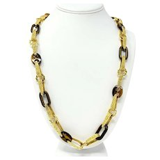 18k Yellow Gold and Tiger's Eye Heavy 135.5g Link Chain Necklace Italy 27""
