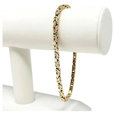 14k Yellow Gold Solid 18.5g Squared Byzantine Link Chain Bracelet Italy 8.5""