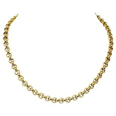 """18k Yellow Gold Heavy 68.5g Polished Rolo Cable Link Chain Necklace Italy 16.5"""""""