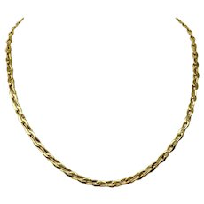 18k Yellow Gold Heavy 34g Modified Curb Rectangle Link Chain Necklace Italy 20""