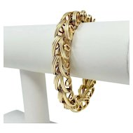 14k Yellow Gold 40.2g Fancy Ribbed Spiral Link Bracelet 7.5 Inches