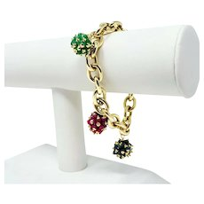"""14k Yellow Gold Ruby Emerald Sapphire Cluster Cable Link Bracelet Italy 7.5"""""""