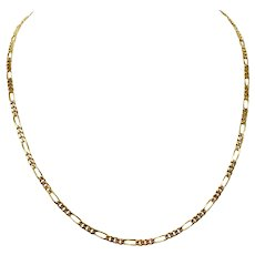 14k Yellow Gold Solid 11g Figaro Link 3mm Chain Necklace 20 Inches