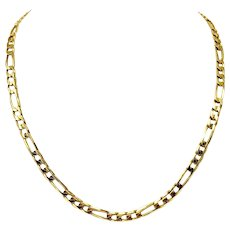 """14k Yellow Gold Solid Heavy 34.2g Figaro Link 5.5mm Chain Necklace Italy 21"""""""