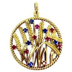 18k Yellow Gold Vintage Ruby and Sapphire Floral Pendant