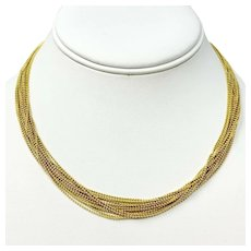 14k Yellow Gold Fifteen Strand Bead Link Chain Necklace 16.25 Inches