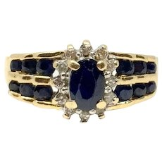 14k Yellow Gold Blue Sapphire and Diamond Halo Ring Size 6.5