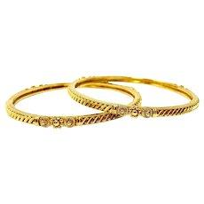 "Pair of 22k Solid Yellow Gold Vintage Diamond Cut Bangle Bracelets Set 7"""