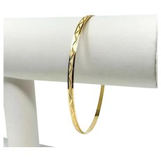18k Rose Gold Diamond Cut Bangle Bracelet Italy 8.5 Inches