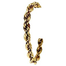 18k Yellow Gold Hollow Thick 8.5mm Fancy Rope Chain Bracelet Italy 8 Inches