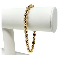18k Yellow Gold Hollow 5.5mm Rope Chain Bracelet Italy 8 Inches