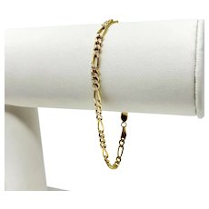 14k Yellow Gold Diamond Cut Figaro Link Chain Bracelet Italy 7 Inches