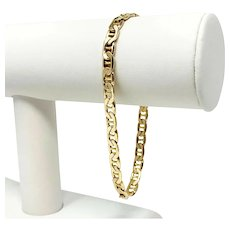 14k Yellow Gold 5.5mm Gucci Anchor Mariner Link Chain Bracelet Italy 8.25""