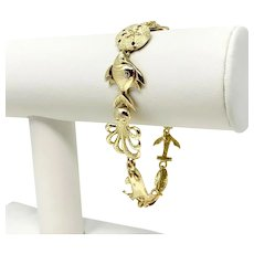 14k Yellow Gold Heavy 25.5g Shell Ocean Beach Charm Link Bracelet 7.5""