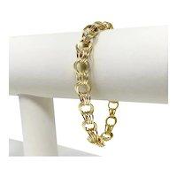 "14k Yellow Gold Ladies Hollow Triple Circle Link Charm Bracelet Charpas 7"""