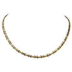 """14k Yellow Gold Ladies 4mm Fancy Bar Link Chain Necklace Italy 17"""""""